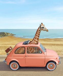 Giraffe In Pink Car paint by number
