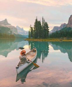 Girl On Kayak I Lake pain by numbers