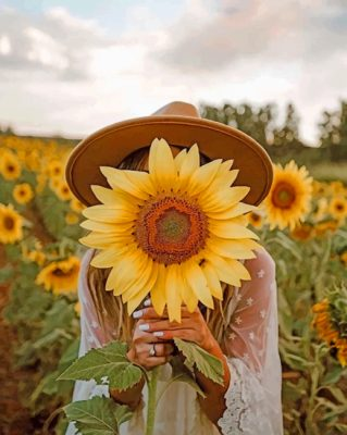 Girl With Sunflower paint by numbers