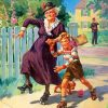 Grandma And Boy On Roller Skates paint by numbers