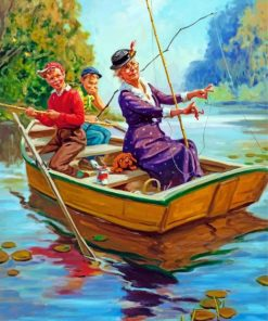 Grandma And Kids On Boat paint by number