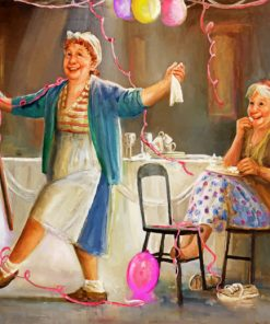 Happy Old Sisters paint by numbers