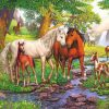 Horses In Forest paint by number