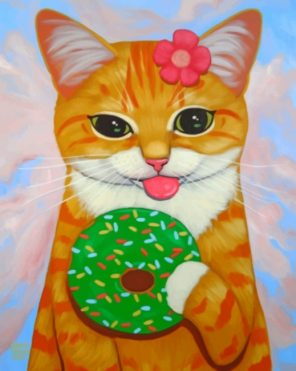 Kitten Eating Donut paint by number