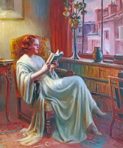 Lady Reading Book paint by numbers