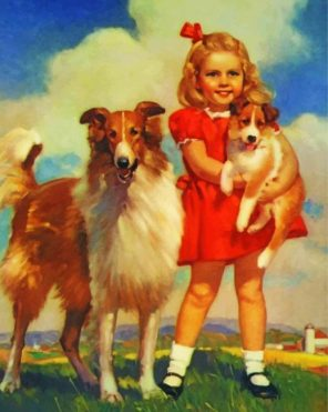 Little Girl With Pets paint by numbers