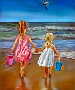 Little Girls In Beach paint by numbers