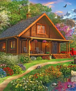 Log Cabin In Forest paint by numbers