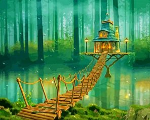 Magical Forest House paint by numbers