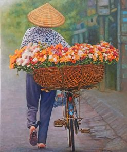 Man Riding Floral Bicycle paint by numbers