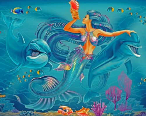 Mermaid With Dolphins paint by number