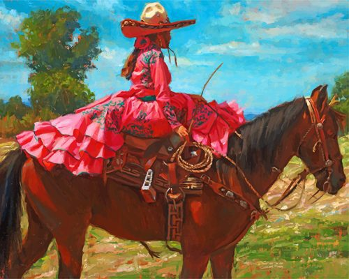 Mexican Woman On Horse paint by numbers