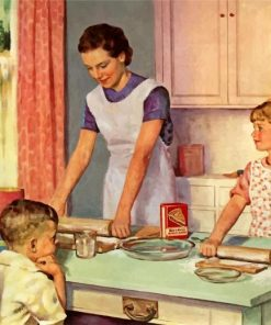 Mother And Kids In Kitchen paint by numbers