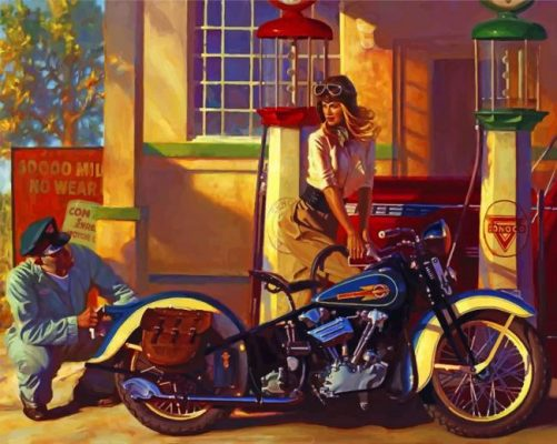 Motorcycle Gas Station paint by number