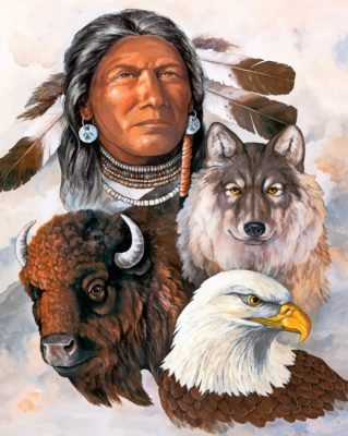 Native American With Animals paint by numbers