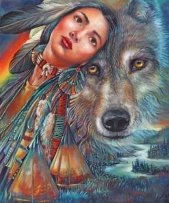 Native American With Wolf paint by numbers