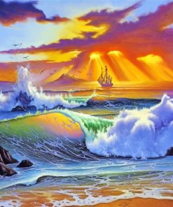 Ocean Waves At Sunset paint by numbers