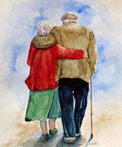 Old Couple Hugging paint by numbers