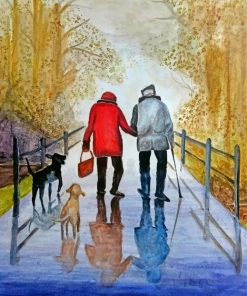 Old Couple With Pets paint by numbers
