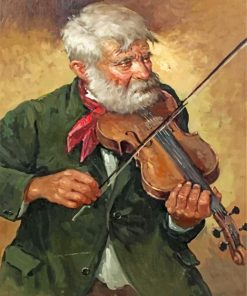 Old Violinist Man paint by numbers
