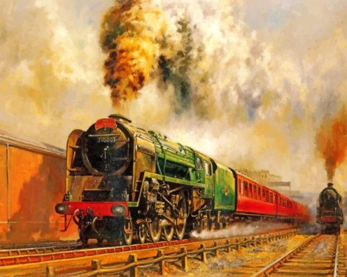 Old steam train paint by numbers
