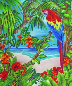 Parrot In Paradise paint by numbers