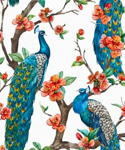 Peacocks On Cherry Blossom tree paint by numbers