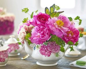 Peonies In Teapot paint by numbers