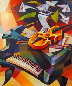 Piano And Violin Cubism Art paint by numbers