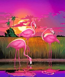 Pink Flamingos Birds paint by numbers