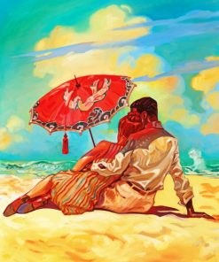 Romantic Couple In Beach paint by numbers