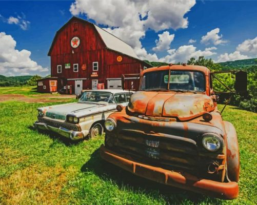 Rusty Car And Truck paint by number