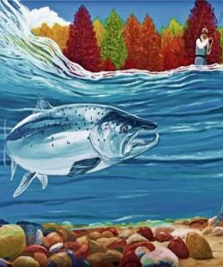 Salmon Fish Underwater paint by number