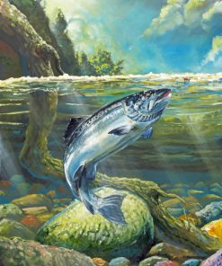 Salmon Fish paint by numbers