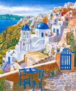 Santorini Greece Island paint by numbers