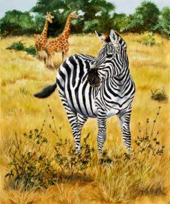 Savannah Zebra and Giraffes paint by numbers