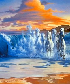 Sea Waves Horses paint by numbers