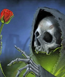 Skull Holding Rose paint by numbers