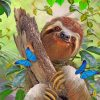 Sloth and Butterflies paint by numbers