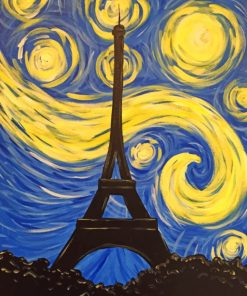 Starry Night Eiffel Tower paint by numbers