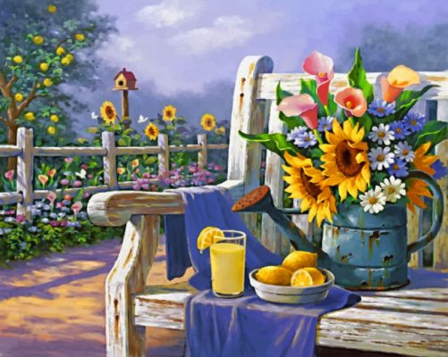 Sunflowers And Lemon On Bench paint by numbers