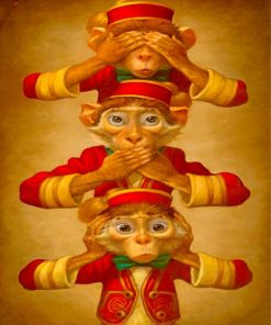 Three Wise Monkeys paint by numbers