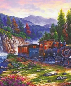 Train Railway Forest paint by numbers