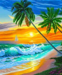 Tropical Ocean Waves paint by numbers