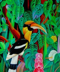 Tropical Hornbill Bird paint by numbers