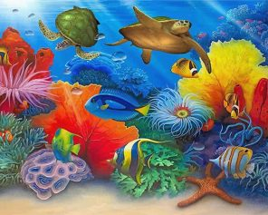 Turtles And Fishes In Sea paint by numbers