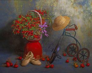 Vintage Bike And Vase paint by numbers