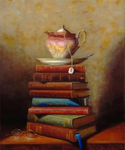 Vintage Coffee Cup On Books paint by numbers