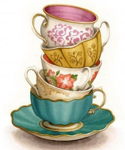 Vintage Coffee Cups paint by numbers