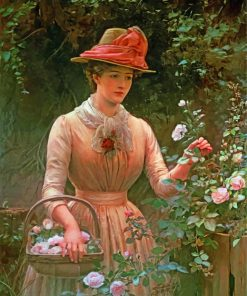 Vintage Woman In Garden paint by numbers